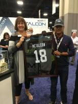 Raffling off the signed NFL Jersey
